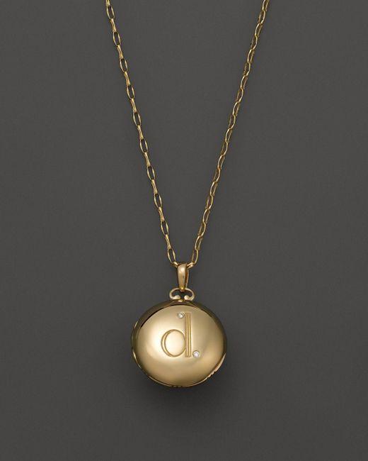 "Monica Rich Kosann   18k Yellow Gold Petite Diamond Initial Locket Necklace, 30""   Lyst"