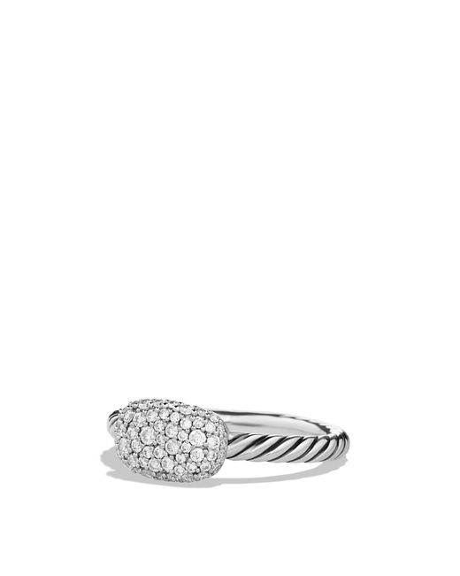 David Yurman | Metallic Petite Pavé Cushion Ring With Diamonds | Lyst