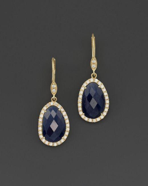 Meira T | Metallic 14k Yellow Gold Sapphire And Diamond Earrings | Lyst