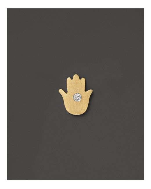 Meira T | Metallic 14k Yellow Gold Hamsa Single Stud Earring With Pave Diamond Center | Lyst