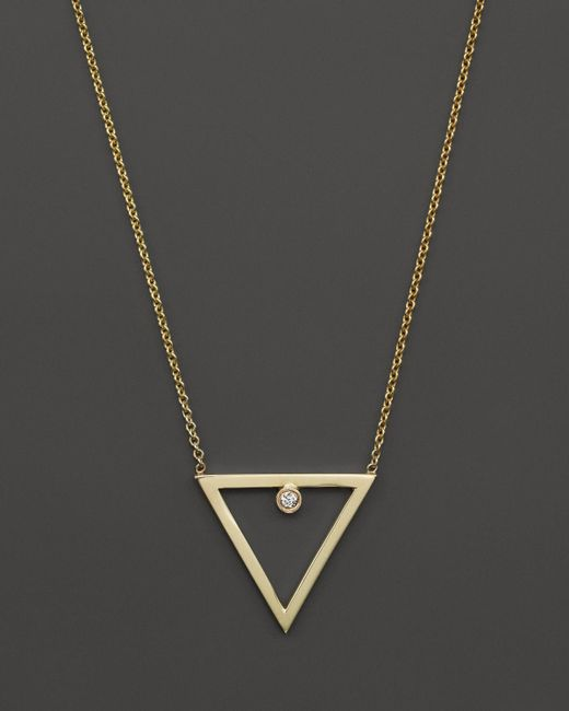 "Zoe Chicco | Metallic 14k Yellow Gold Diamond Open Triangle Necklace, 16"" | Lyst"