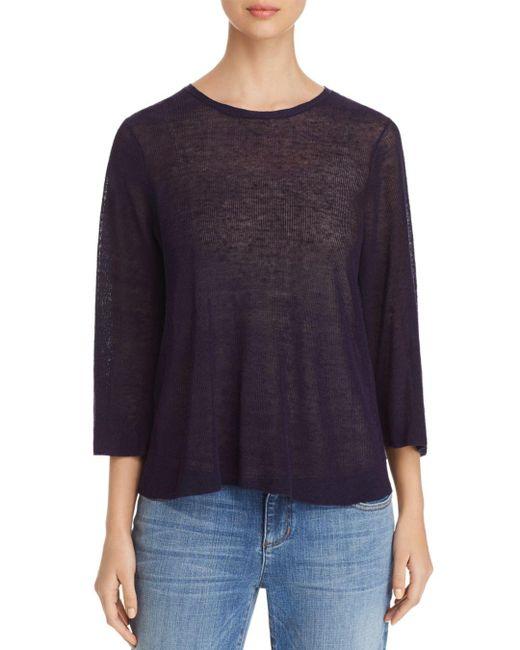 Eileen Fisher - Blue Semi-sheer Knit Top - Lyst