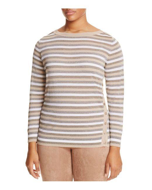 Marina Rinaldi | Multicolor Abigail Metallic Stripe Button Side Sweater | Lyst