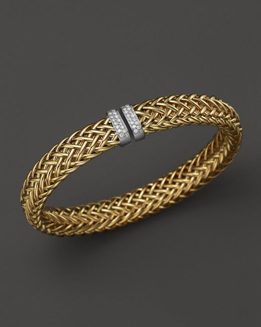 Roberto Coin | Metallic 18k Yellow Gold Primavera Woven Bracelet With Diamonds | Lyst