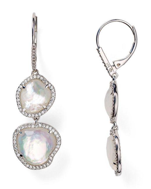 Nadri | Metallic Sterling Silver & Mother Of Pearl Double Drop Earrings | Lyst