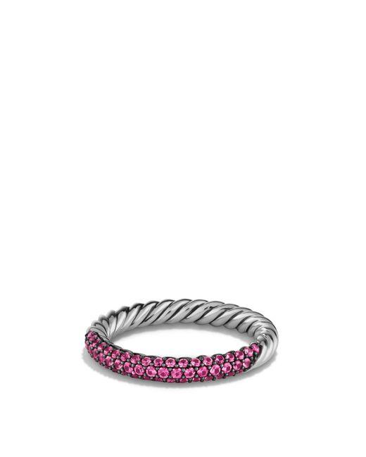 David Yurman | Metallic Petite Pavé Ring With Pink Sapphires | Lyst