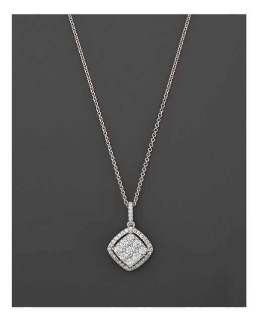 Roberto Coin | 18k White Gold Diamond Square Drop Pendant Necklace, 18"