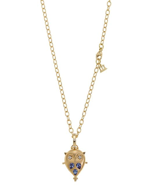 Temple St. Clair   Blue 18k Gold Small Owl Locket With Tanzanite And Diamonds   Lyst