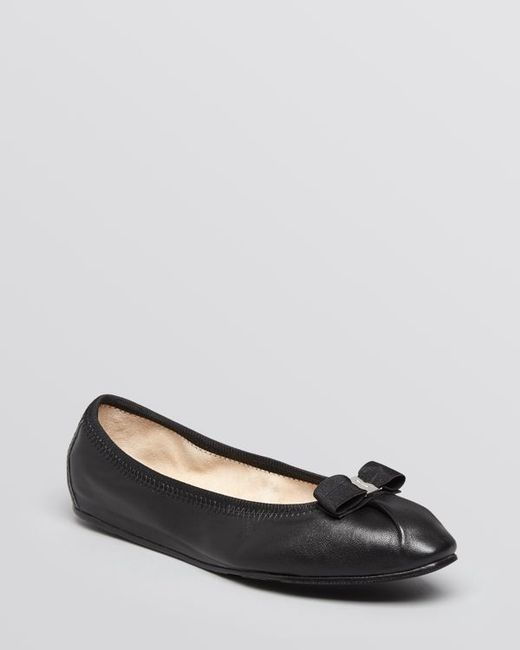 Ferragamo | Black My Joy Matte Leather Ballet Flat | Lyst