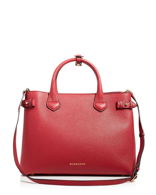 Burberry | Red Medium Banner House Check Tote | Lyst