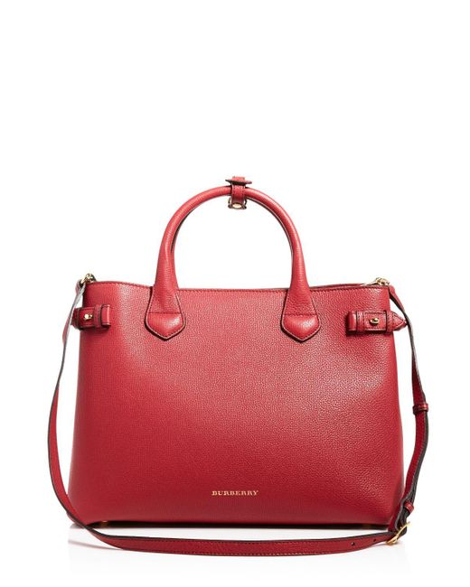 Burberry | Red 'medium Banner' Leather Tote | Lyst