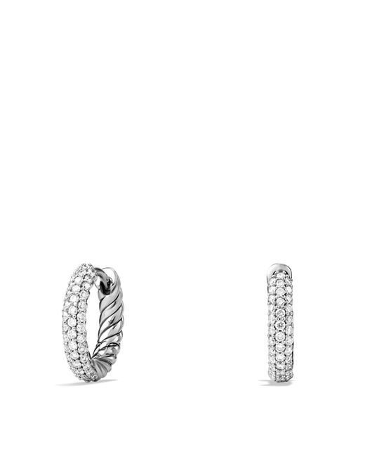 David Yurman | Metallic Petite Pavé Earrings With Diamonds | Lyst