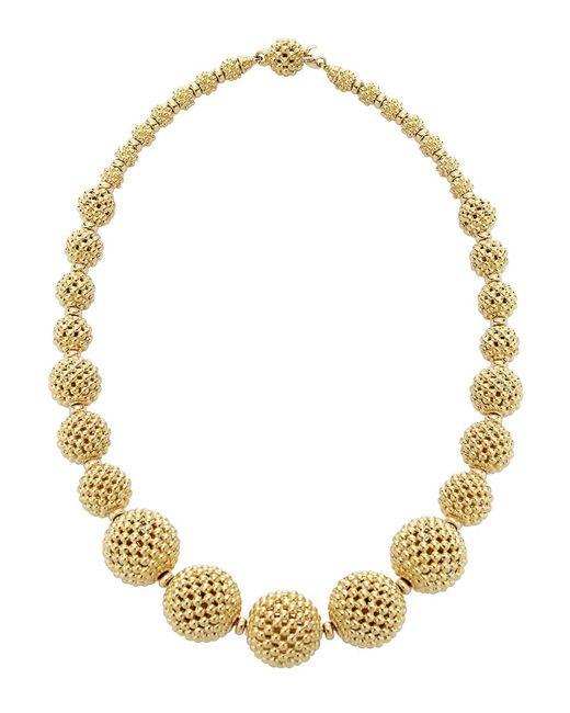 "Lagos | Metallic 18k Gold Caviar Graduated Lattice Ball Statement Necklace, 16"" | Lyst"