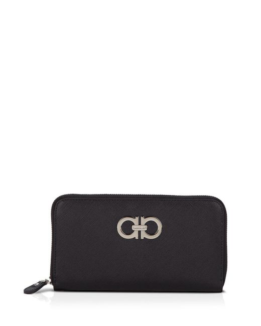 Ferragamo | Black Wallet - Saffiano Giove Zip Around Continental | Lyst