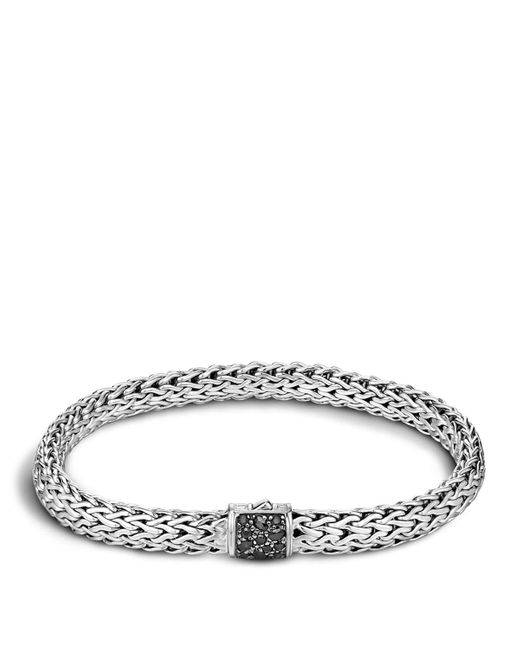 John Hardy   Men's Classic Chain Sterling Silver Lava Medium Bracelet With Black Sapphires for Men   Lyst