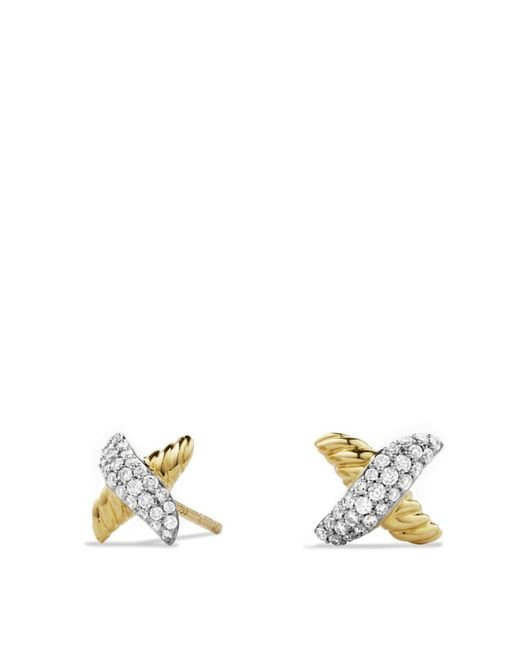 David Yurman | Metallic X Earrings With Diamonds In Gold | Lyst