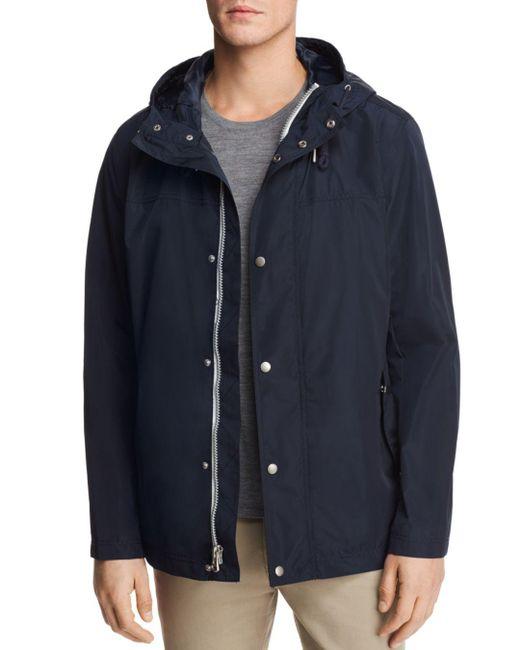Cole Haan - Blue Hooded Rain Jacket for Men - Lyst