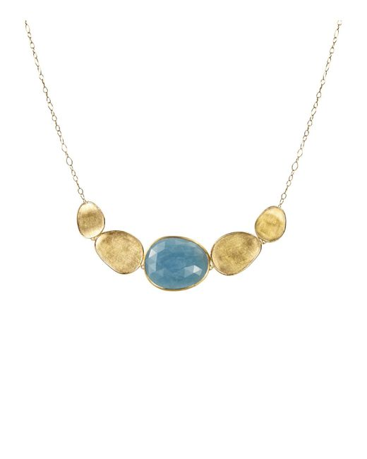 """Marco Bicego   Blue Lunaria Half Collar Necklace In 18k Yellow Gold With Aquamarine, 16""""   Lyst"""
