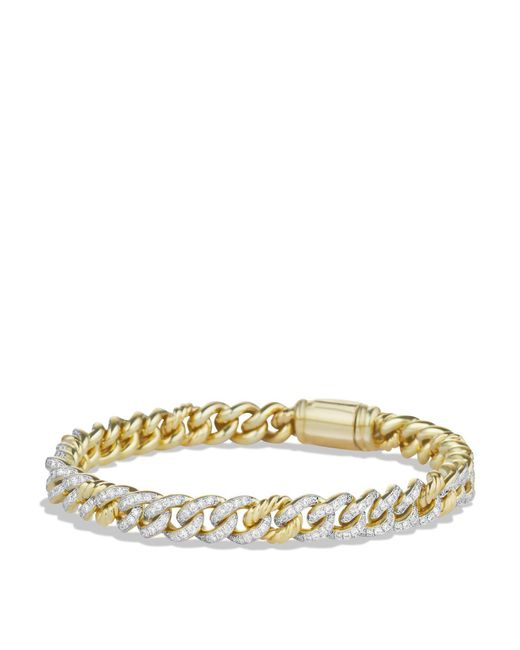 David Yurman | Metallic Petite Pavé Curb Link Bracelet With Diamonds In Gold | Lyst