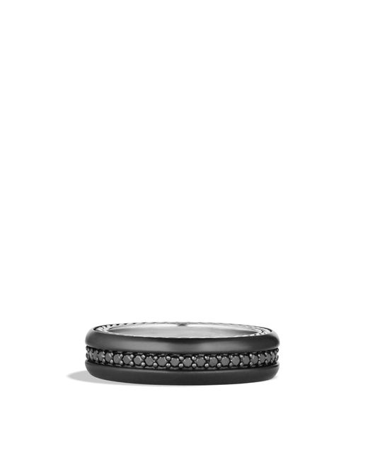David Yurman | Streamline Narrow Band Ring With Black Diamonds And Black Titanium for Men | Lyst