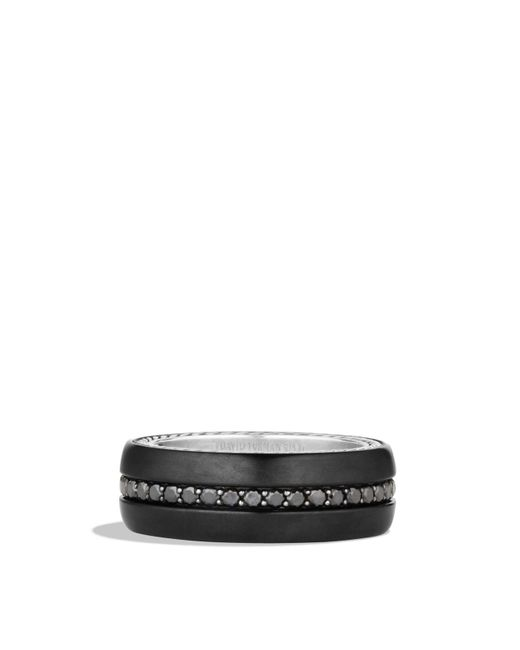 David Yurman | Streamline Wide Band Ring With Black Diamonds And Black Titanium for Men | Lyst