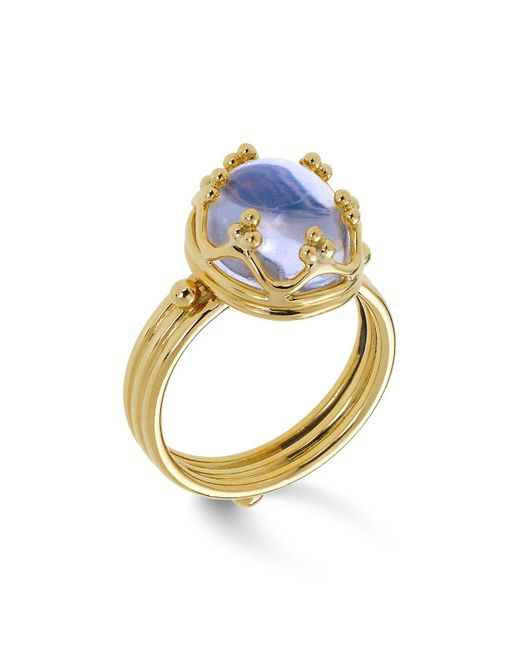 Temple St. Clair | Metallic 18k Gold Crown Ring With Royal Blue Moonstone | Lyst