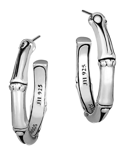 John Hardy | Metallic Women's Sterling Silver Bamboo Small Hoop Earrings | Lyst