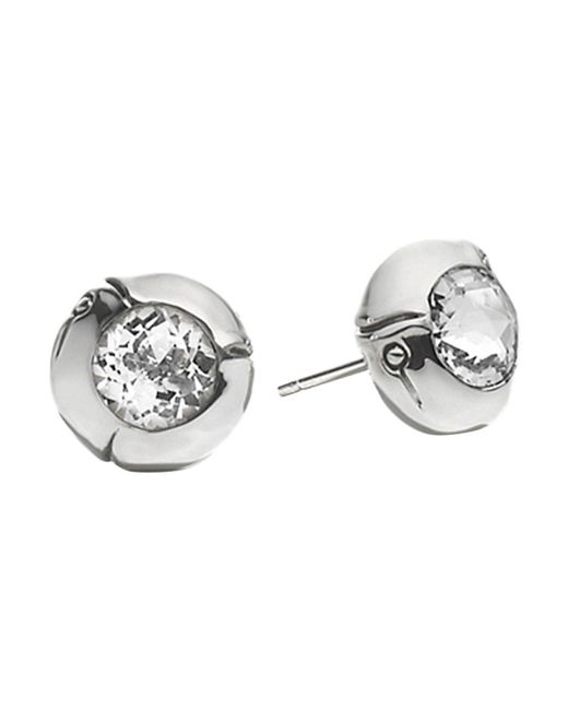 John Hardy | Metallic Sterling Silver Bamboo Small Round Stud Earrings With White Topaz | Lyst