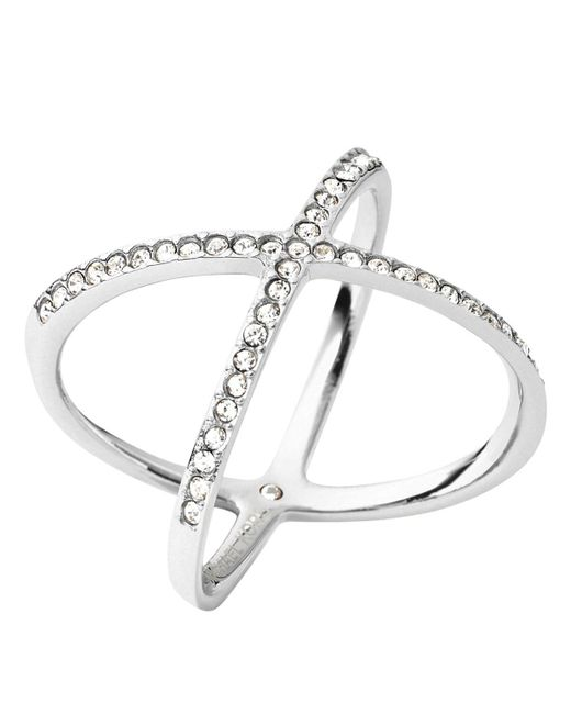 Michael Kors | Metallic Pave X Ring | Lyst