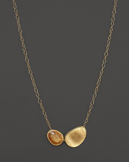 "Marco Bicego | Metallic 18k Yellow Gold Lunaria Citrine Pendant Necklace, 16.5"" - 100% Exclusive 