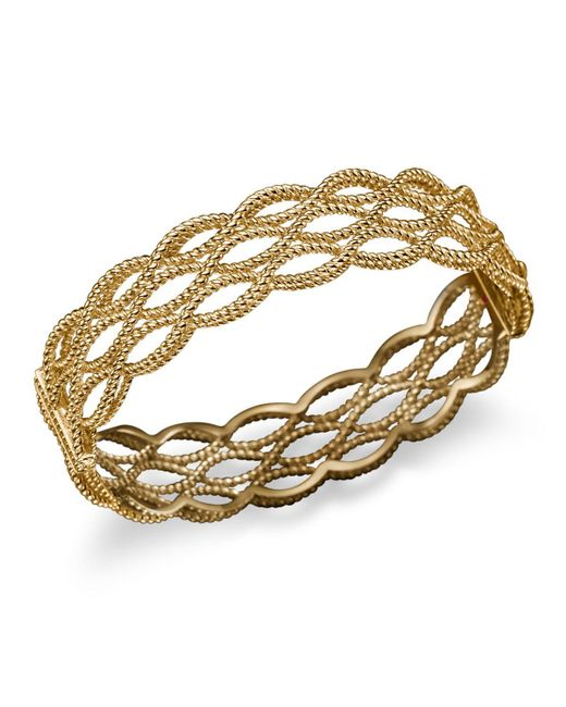 Roberto Coin | Metallic 18k Yellow Gold Triple Row Twisted Bangle | Lyst