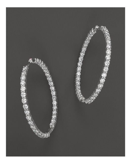 Roberto Coin | 18k White Gold Large Diamond Inside Out Hoop Earrings | Lyst