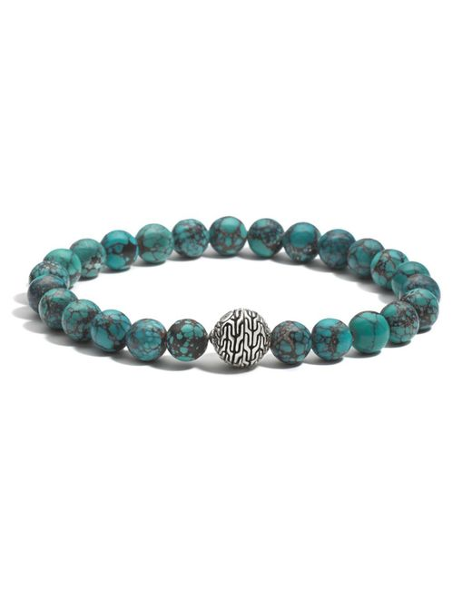 John Hardy | Blue Men's Sterling Silver Classic Chain Large Beaded Bracelet With Turquoise for Men | Lyst