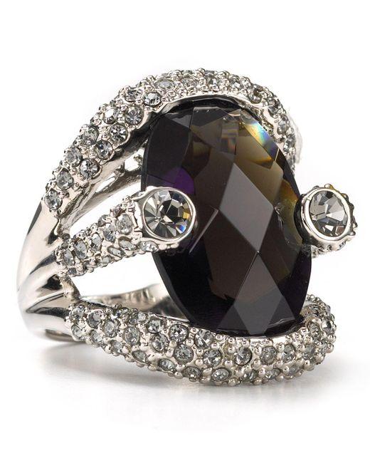 ABS By Allen Schwartz | Black Women's Large Stone Pave Ring | Lyst