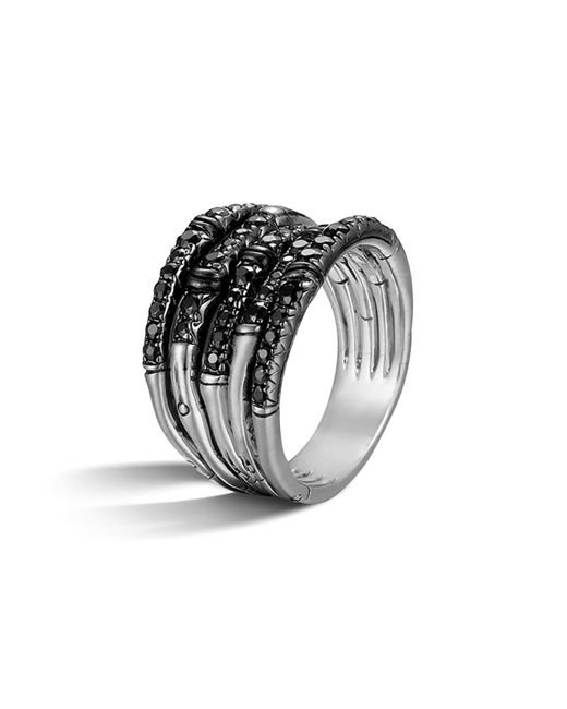 John Hardy - Metallic Bamboo Silver Lava Wide Ring With Black Sapphire - Lyst