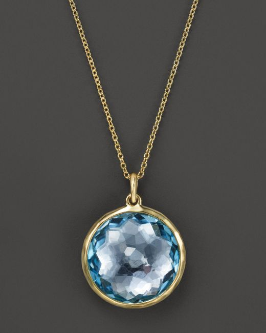 Ippolita | 18k Lollipop Medium Round Pendant Necklace In Blue Topaz, 16-18"