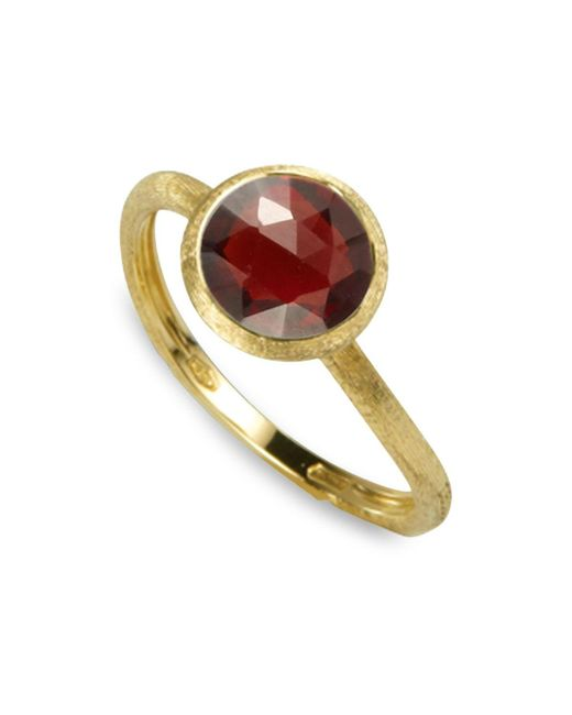 Marco Bicego | Red 18k Yellow Gold Engraved Jaipur Stackable Ring With Garnet | Lyst
