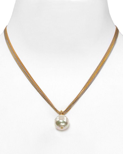 "Majorica | Multicolor Women's 16mm Baroque Simulated Pearl Multistrand Chain Necklace, 16"" | Lyst"