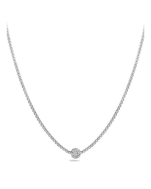 David Yurman | Metallic Petite Pavé Necklace With Diamonds | Lyst