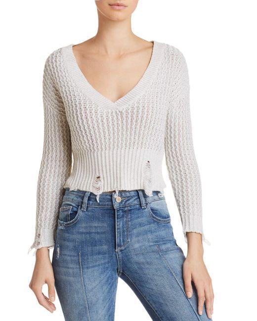 DL1961 - White Freeman Distressed Sweater - Lyst