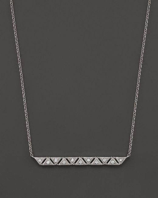 "Dana Rebecca | 14k White Gold Mosaic Bar Necklace With Diamonds, 16"" | Lyst"
