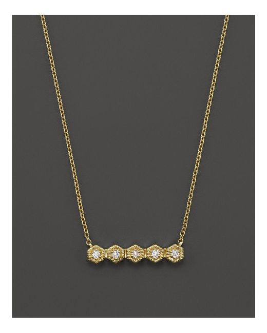 Dana Rebecca | Metallic 14k Yellow Gold Mini Hexagon Bar Necklace With Diamonds, 16"