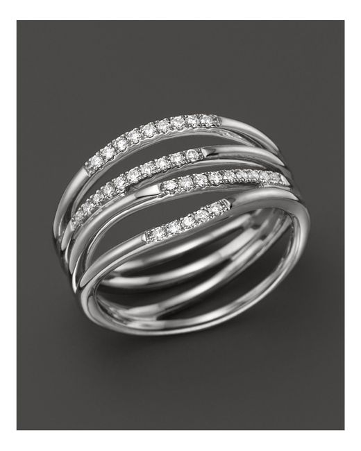 Dana Rebecca | 14k White Gold Wisp Ring With Diamonds | Lyst