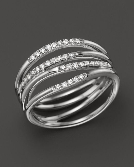 Dana Rebecca   14k White Gold Wisp Ring With Diamonds   Lyst