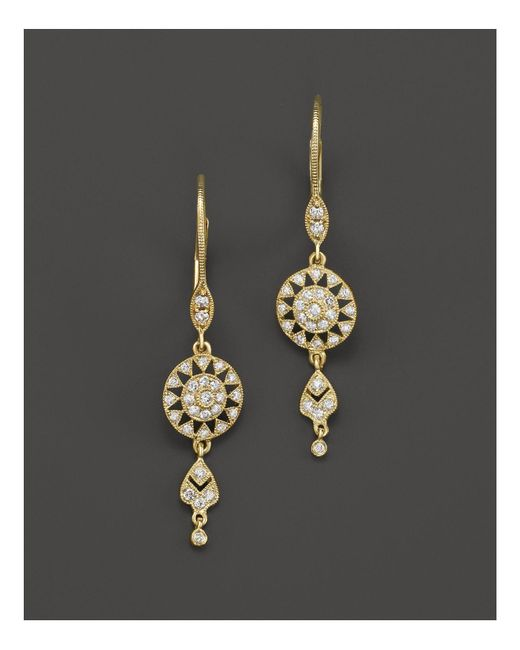 Meira T | Metallic 14k Yellow Gold Antique Drop Earrings With Diamonds | Lyst