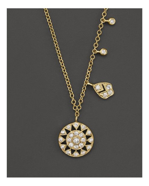 Meira T | Metallic 14k Yellow Gold Antique Pendant Necklace With Diamonds, 16"