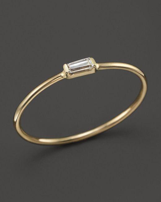 Zoe Chicco   Metallic 14k Yellow Gold Diamond Baguette Ring   Lyst