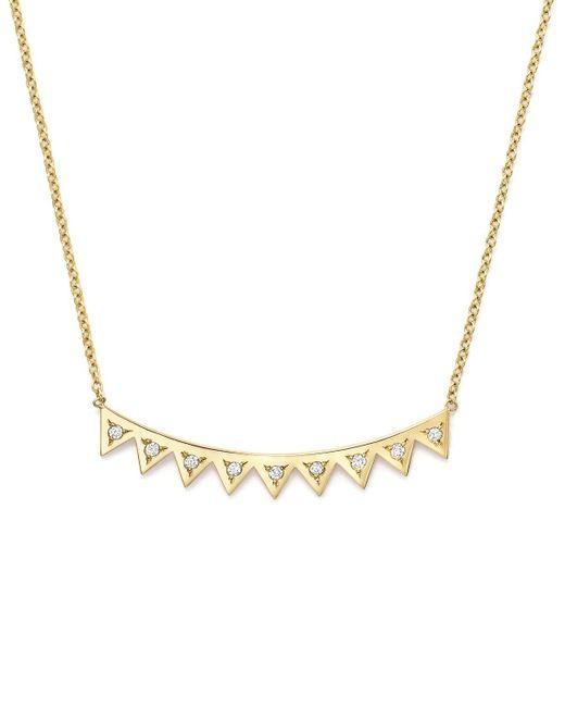 "Zoe Chicco | Metallic 14k Yellow Gold Eyelash Pendant Necklace With Diamonds, 16"" | Lyst"