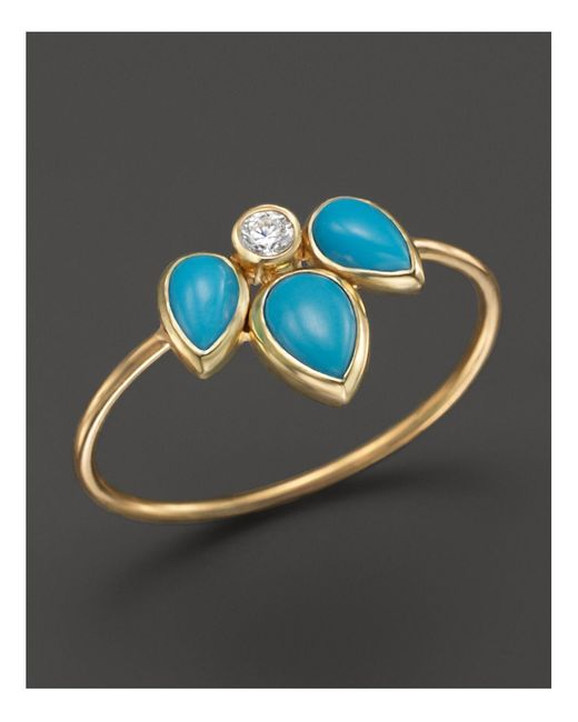 Zoe Chicco | Metallic 14k Yellow Gold Ring With Turquoise And Diamond | Lyst