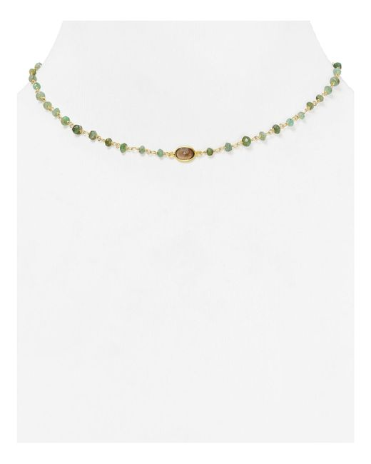 Ela Rae | Green Libi Beaded Emerald Necklace, 14"